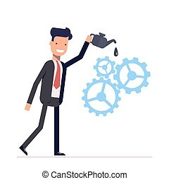 Man in suit lubricates the gear mechanism oil. The debugged work. Vector, illustration EPS10.