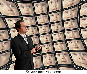 Man in suit monitoring babies on distorted video screens