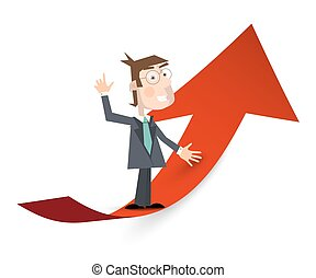 Man in Suit on Red Arrow. Success and Business Growing Symbol