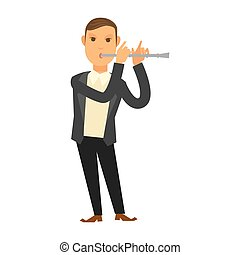 Man in suit playing flute - Vector illustration of male...