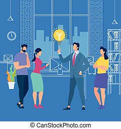 Man in Suit Point on Light Bulb on Blue Background with Outline Office Interior. Business Training or Sharing Idea with Employees Listening and Interacting with Coach. Cartoon Flat Vector Illustration