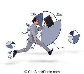 Man in suit running against a backg