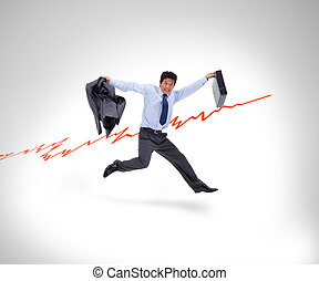 Man in suit running against a curve