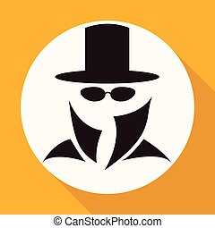 Man in suit. Secret service agent icon a long shadow