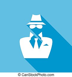 Man in suit. Secret service agent icon a long shadow