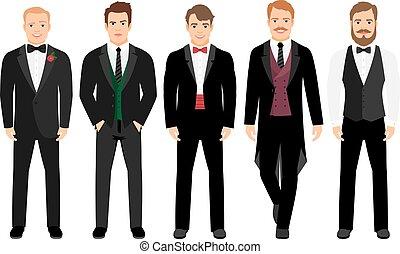Man in suit set vector illustration. Fashion cartoon elegant...