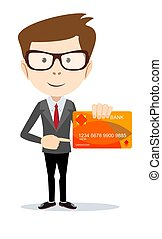 Man in suit shows plastic card