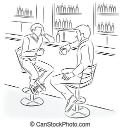 Two men sit in the bar at a bar counter. They're talking and drinking alcohol cocktails and strong drinks. Vector monochrome drawing drawn by the lines.