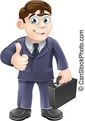 Man in suit thumbs up drawing - A happy smiling cartoon...