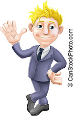 Man in suit waving cartoon - A cartoon blonde business man...