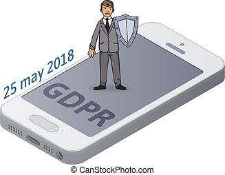 Man in suit with a shield protecting smartphone and personal data. GDPR initiation date. Data protection. GDPR, RGPD, DSGVO, DPO. Concept isometric vector illustration. Isolated on white background.