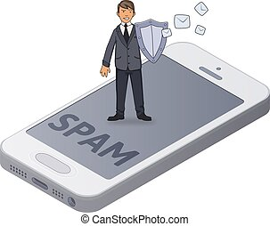 Man in suit with a shield protecting smartphone from spam and unwanted mail. Antispam. Concept isometric vector illustration. Isolated on white background.