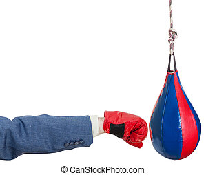 man in suit with boxing glove punches punching bag