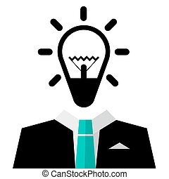 Man in Suit with Bulb Icon - Vector Isolated on White Background