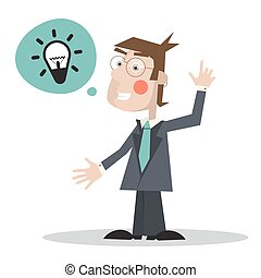 Man in Suit with Bulb in Bubble Icon - Vector Illustration Isolated on White Background