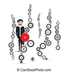 Man in Suit with Cogs - Vector