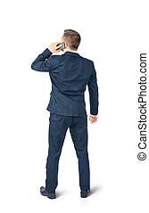 Man in suit with phone isolated on a white background