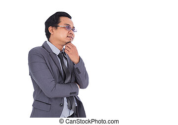 man in suit with thinking isolated on white background