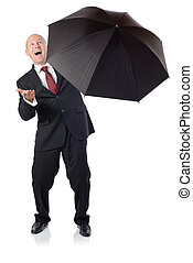Man in suit with umbrella concept of getting better