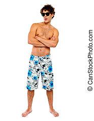 Man in Swimwear wearing goggles