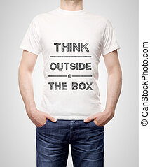 man in t-shirt - think outside the box on t-shirt
