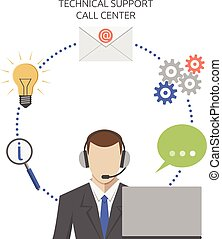 Man working in technical support call center, flat style. EPS 8 vector illustration, no transparency
