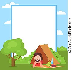 Man in Tent and Filling Form Vector Illustration