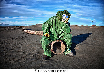 Man in the area of ??environmental disaster