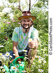 Man  in the beautiful garden