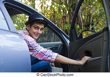 man in the car outdoors