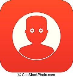 Man in the dark icon digital red