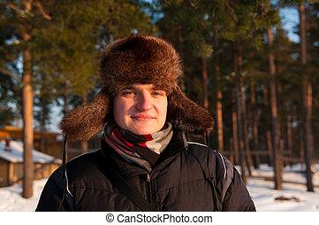 man in the fur cap