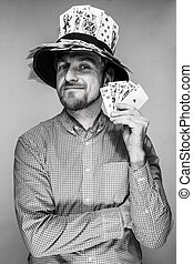 man in the hat of playing cards