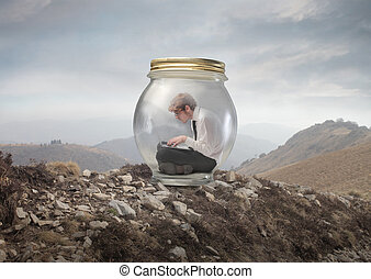 man in the jar - young man sitting in a jar
