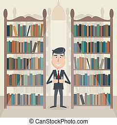 Man in the library.