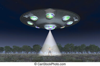 Man in the light beam of a flying saucer