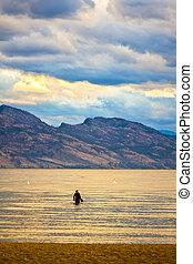 Man in the Water in Lake Okanagan