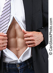 man in tie rip clothes off torso showing abs