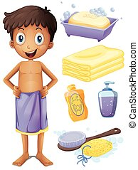 Man in towel and bathroom set illustration