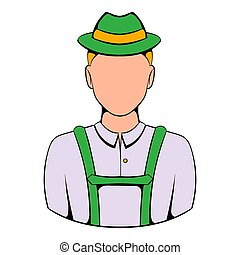 Man in traditional Bavarian costume icon cartoon