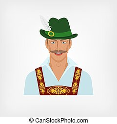 man in traditional Bavarian national costume. vector...