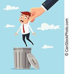 Man in trash. Vector flat cartoon