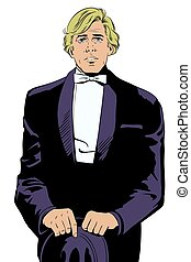 Man in tuxedo and bow tie. Stock illustration.