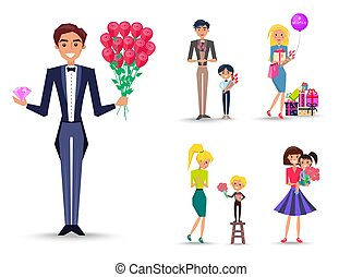 Man in Tuxedo with Bouquet of Roses and Diamond