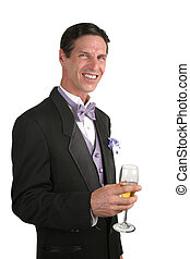 Man In Tuxedo With Champagne 1 - A handsome man wearing a...