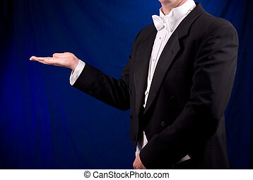 Man in Tuxedo with open hand