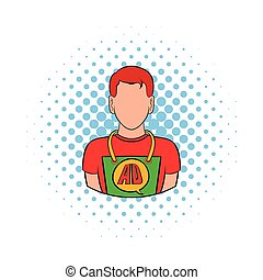 Man in uniform icon, comics style