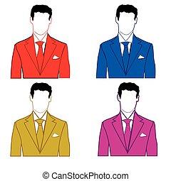 Man in varicoloured suit