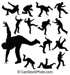 man in various poses of break dance silhouette