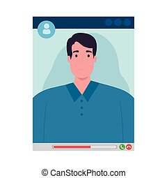 Man in video chat screenshot design, Call online conference and webcam theme Vector illustration